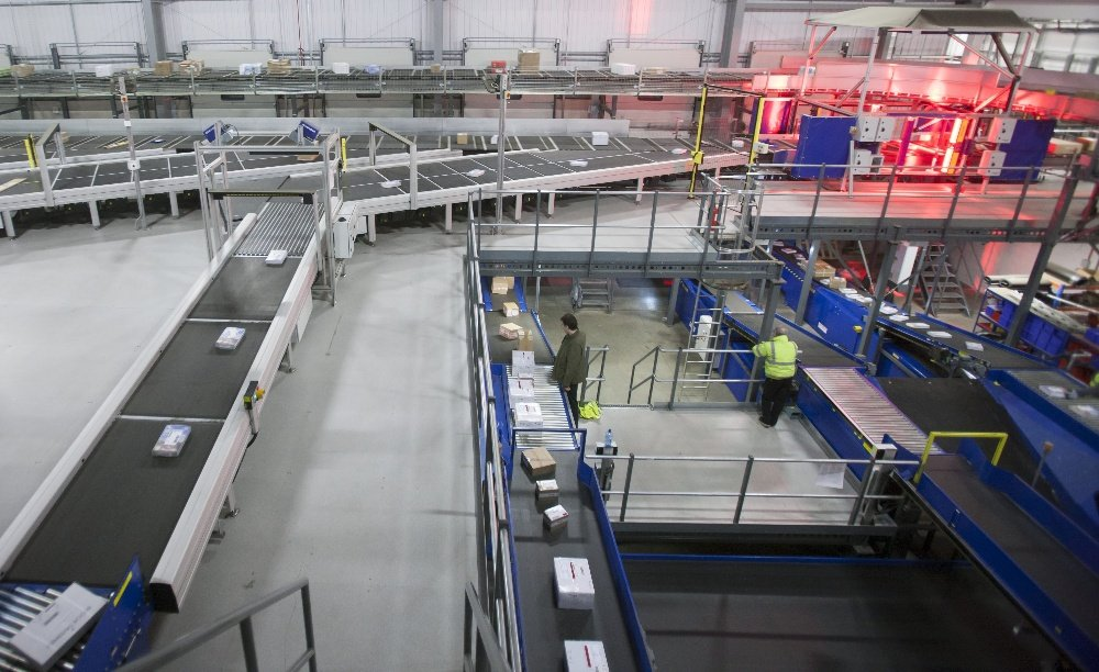Parcels and boxing being sorted in a distribution centre